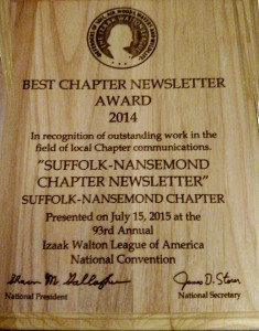 Ricky George, as editor-in-chief, receives the Best Newsletter for 2014 Award on behalf of our Chapter